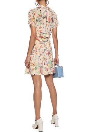 REDValentino Tie-back printed georgette mini dress