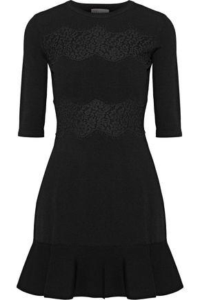 REDValentino Lace-appliquéd stretch-knit mini dress