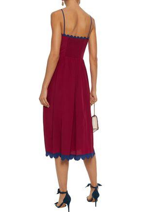 REDValentino Scalloped shirred silk midi dress