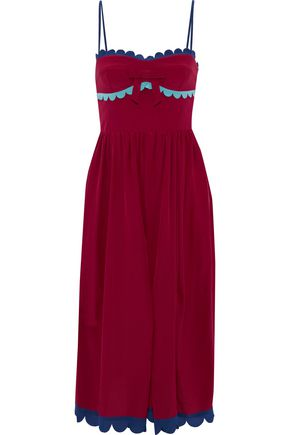 REDValentino Scalloped shirred silk midi dress