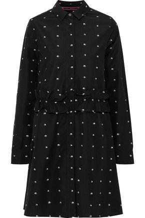McQ Alexander McQueen Embroidered cotton-poplin mini shirt dress
