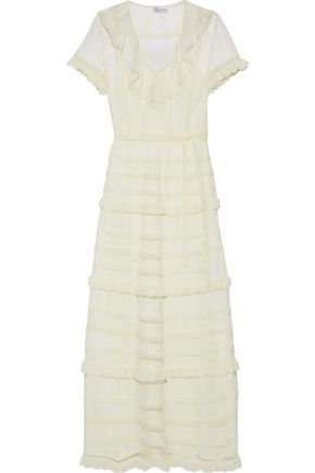 REDValentino Lace and ruffle-trimmed point d'esprit midi dress