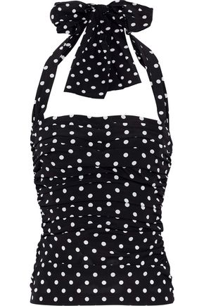 DOLCE & GABBANA Ruched polka-dot stretch-silk halterneck top