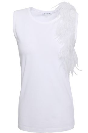 HELMUT LANG Feather-embellished stretch-cotton jersey top