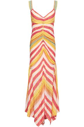 PETER PILOTTO Ruched striped jacquard-knit maxi dress