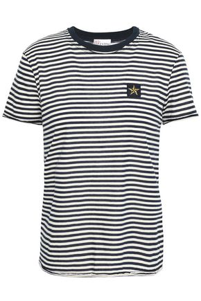 REDValentino Appliquéd striped cotton-jersey T-shirt