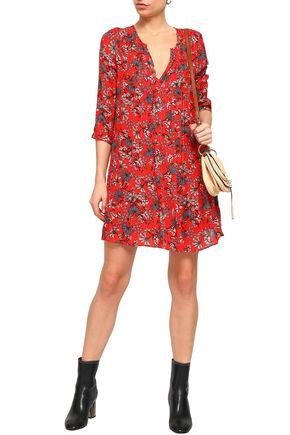 BA&SH Floral-print metallic gauze mini dress