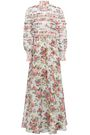 ZIMMERMANN Smocked floral-print linen and silk-blend maxi dress