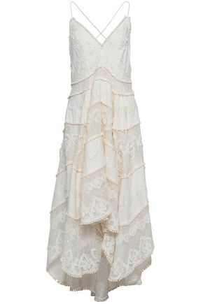 ZIMMERMANN Asymmetric embroidered cotton and silk-blend dress