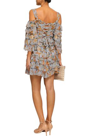 ZIMMERMANN Painted Heart Ra Ra cold-shoulder tiered printed silk-georgette mini dress