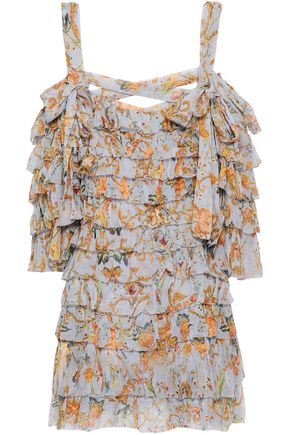 ZIMMERMANN Cold-shoulder tiered printed silk-georgette mini dress