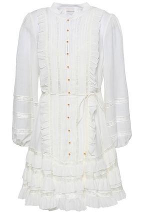 ZIMMERMANN Lace-trimmed silk-blend georgette mini dress