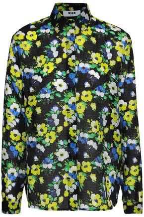 MSGM Floral-print cloqué shirt
