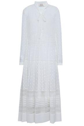 ZIMMERMANN Pussy-bow lace-trimmed fil coupé georgette midi dress
