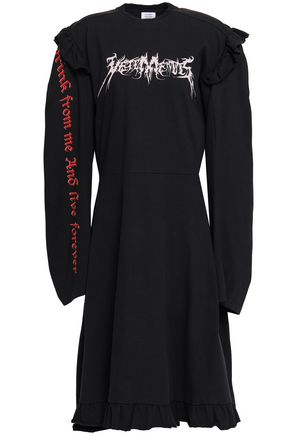 VETEMENTS Ruffle-trimmed printed cotton-jersey mini dress