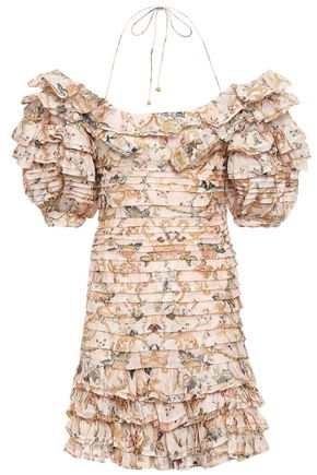ZIMMERMANN Off-the-shoulder ruffled printed linen and silk-blend mini dress