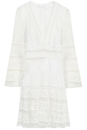 ZIMMERMANN Lattice-trimmed broderie anglaise cotton mini dress