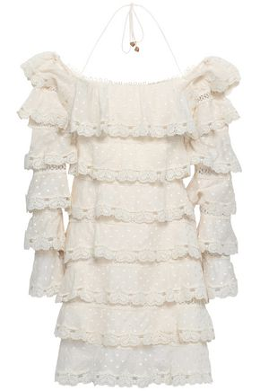 ZIMMERMANN Tiered Swiss-dot cotton and silk-blend halterneck mini dress