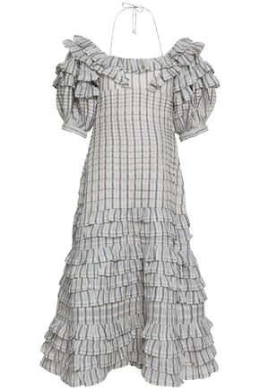 ZIMMERMANN Off-the-shoulder linen and silk-blend midi dress
