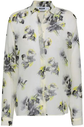 MSGM Floral-print chiffon shirt