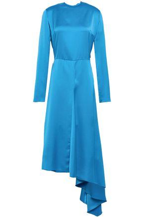 MSGM Asymmetric cutout satin-crepe midi dress
