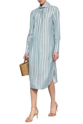 ZIMMERMANN Button-embellished striped twill midi dress