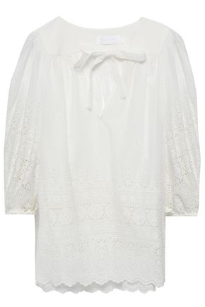 ZIMMERMANN Bow-detailed broderie anglaise cotton blouse