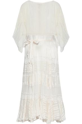 ZIMMERMANN Lace-trimmed striped silk-jacquard midi dress