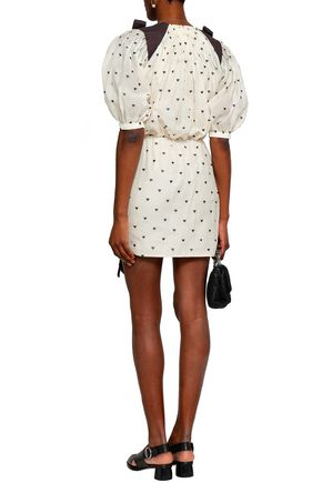 ZIMMERMANN Bow-embellished ruched printed cotton and silk-blend mini dress