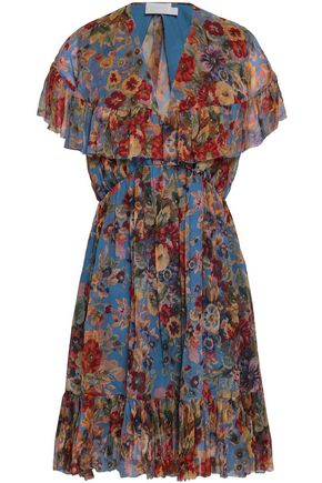 ZIMMERMANN Cutout floral-print silk-georgette mini dress