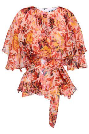 MSGM Cape-effect floral-print silk-chiffon blouse