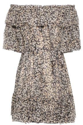 ZIMMERMANN Off-the-shoulder printed silk-georgette mini dress