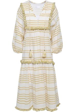 ZIMMERMANN Tassel-trimmed striped cotton-blend gauze midi dress