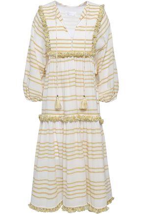 ZIMMERMANN Tassel-trimmed striped cotton-blend gauze midi dress