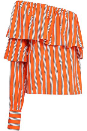 MSGM One-shoulder ruffled striped cotton-poplin top