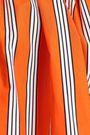MSGM One-shoulder ruffled striped cotton-poplin top