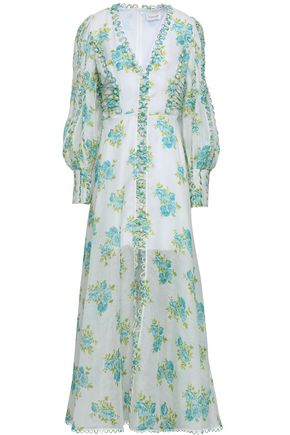 ZIMMERMANN Button-embellished floral-print linen and silk-blend maxi dress