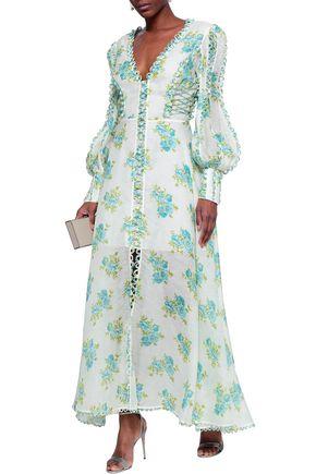 ZIMMERMANN Button-embellished floral-print linen and silk-blend maxi dress