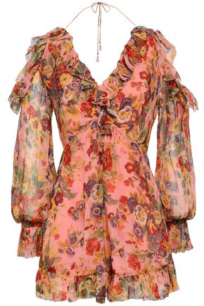 ZIMMERMANN Lovelorn Frill cold-shoulder floral-print silk-georgette playsuit