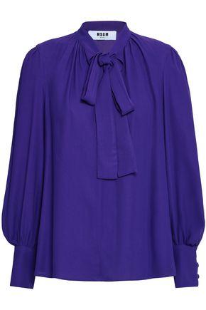 MSGM Pussy-bow crepe de chine blouse