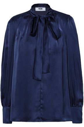 MSGM Pussy-bow satin blouse