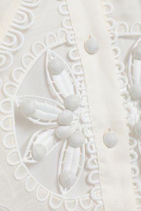 ZIMMERMANN Cutout embellished linen and silk-blend shirt