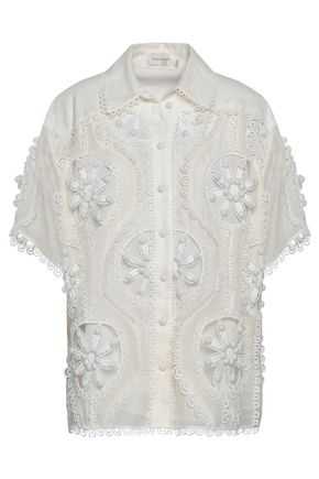 ZIMMERMANN Cutout embellished linen and silk-blend shirt