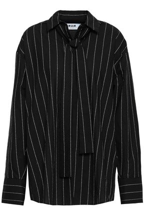 MSGM Oversized striped cotton-poplin shirt