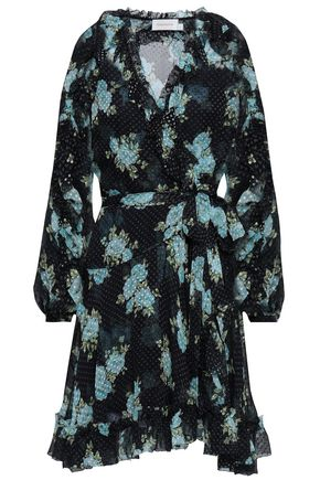 ZIMMERMANN Floral-print fil coupé silk-blend wrap mini dress