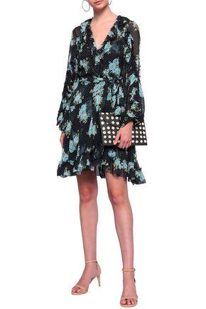 ZIMMERMANN Floral-print fil coupé silk-blend wrap mini dress