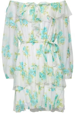 ZIMMERMANN Off-the-shoulder tiered floral-print silk-georgette mini dress
