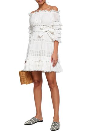ZIMMERMANN Off-the-shoulder tiered cotton mini dress