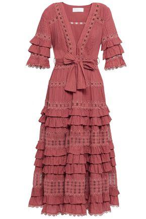 ZIMMERMANN Tiered crochet-trimmed cotton midi dress