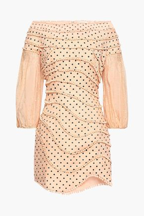 ZIMMERMANN Off-the-shoulder pompom-trimmed polka-dot linen mini dress